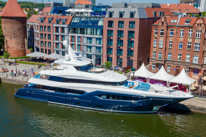 Conrad's 133ft Viatoris, pictured in the heart of Gdansk's Old Town, was a winner at the 2019 World Superyacht Awards, another success for Polish yacht building