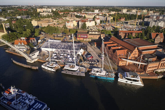 Sunreef, founded in Gdansk in 2002, displays its catamarans in the Old Town for the Pomorskie Rendez-Vous