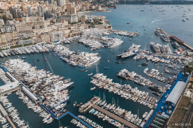 The biggest yachts at the 2019 Monaco Yacht Show are in the top-right quarter of this picture
