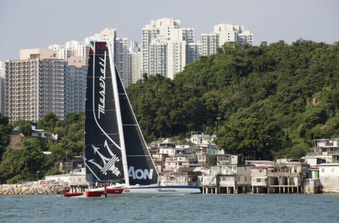 Maserati Multi70, pictured at Lei Yue Mun, was held up near the end of the race