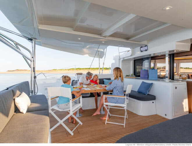 The comfortable, sheltered aft deck benefits from discreet forward-facing hatches that offer flow through, and features a wetbar that adjoins the galley