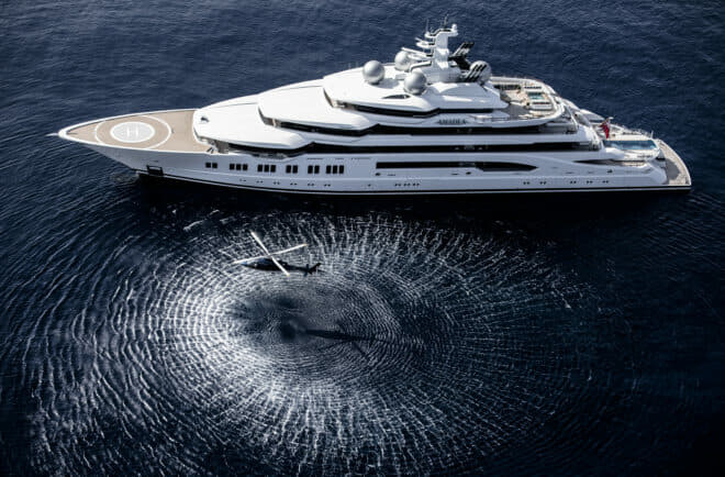 The 106m Amadea was built by Lurssen and is available for sale through Imperial; Photo © Guillaume Plisson