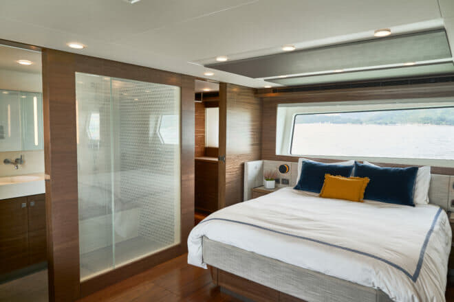 The full-beam master cabin features the bed athwartships, large windows and great headroom