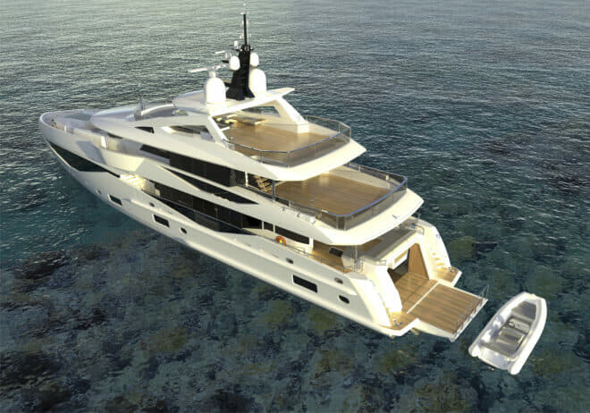 Sunseeker will develop the hull and engineering of the 133 Yacht before fit-out at Pendennis for a 2021 launch