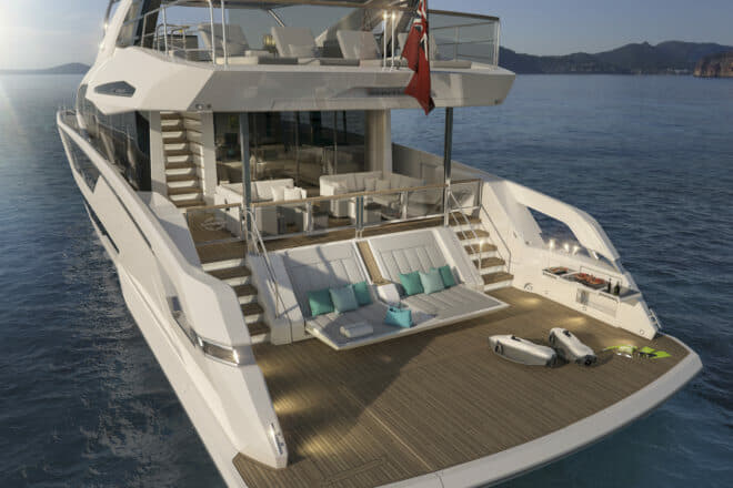 The 87 Yacht features X-Tend sunbeds and is set for summer 2020