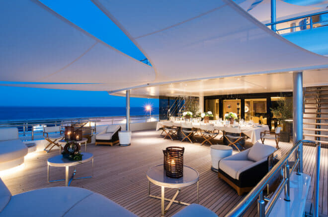 Upper deck aft is ideal for dining and socialising, day or night