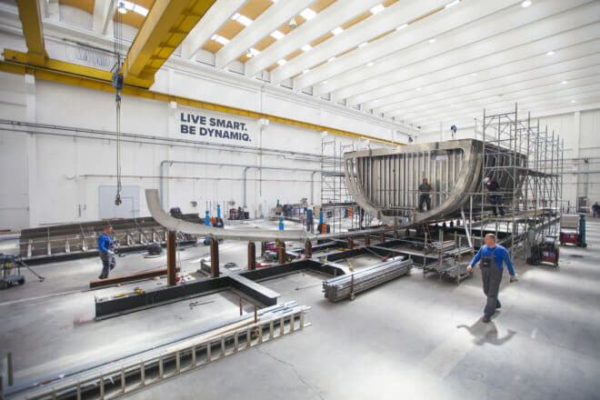 Dynamiq's Dutch-engineered yachts are built in Massa, Italy