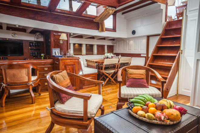 Aventure's stunning interior includes the main saloon with a chart table, dining area and lounge, while there's a guest cabin forward and master suite aft