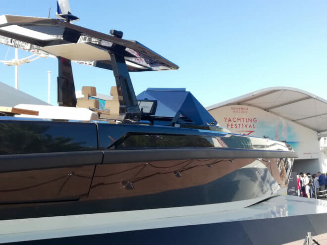 The 48 Wallytender had its world premiere at the Cannes Yachting Festival, with one model in the water and one by the main entrance