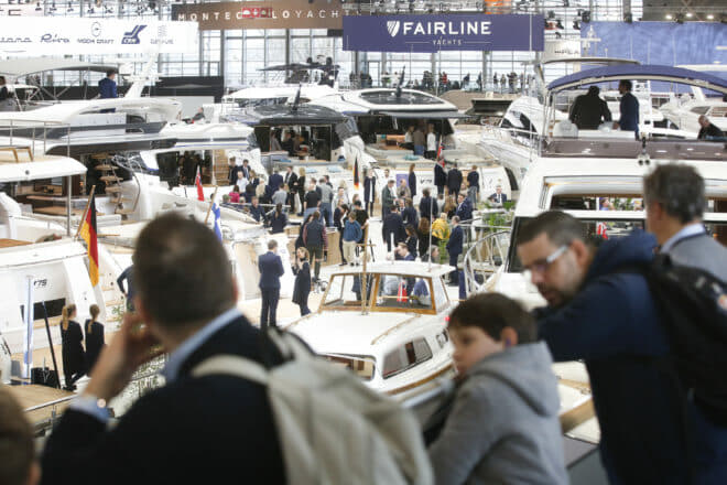 Visitors overlook the Princess stand at Boot Dusseldorf