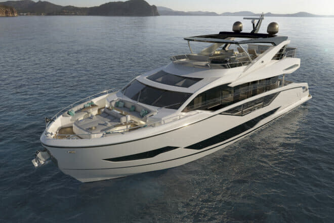 Scheduled to launch in the third quarter of 2020, the 87 Yacht has over 25 per cent more volume than the 86, due to a much larger beam and new bow design