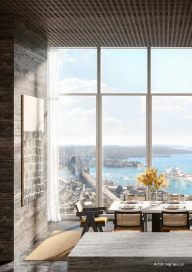 Dining area in a unit at One Sydney Harbour