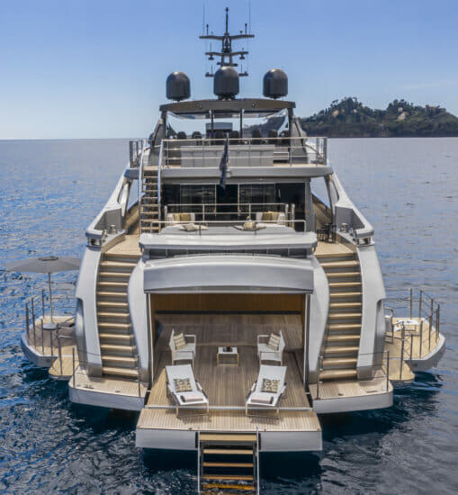 Pershing 140: The 'astonishing' beach club allows guests to walk around three sides due to corner panel inserts