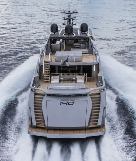 Pershing 140: Four 2,600hp MTU engines propel the 43m yacht to 38 knots