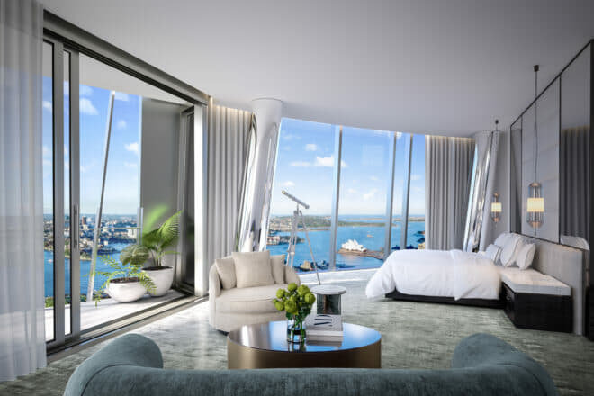 Penthouse master bedroom at Crown Residences at One Barangaroo