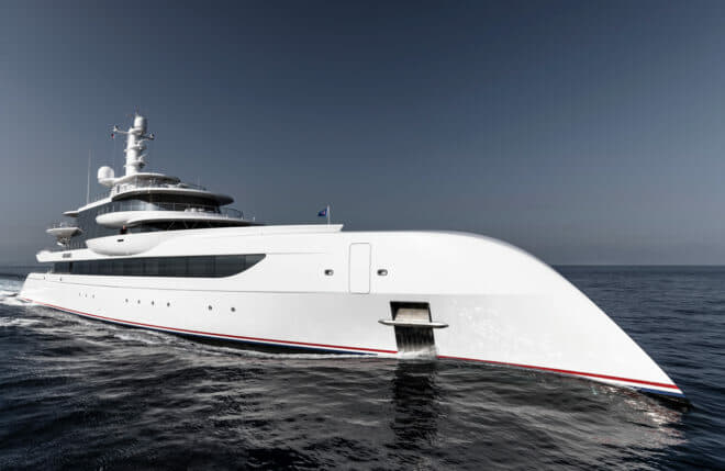 Abeking: Excellence has a bow shaped like an American eagle's beak, plus red and blue stripes above the waterline, a feature on the American owner's previous yachts; Exterior Photos: Guillaume Plisson For Abeking & Rasmussen