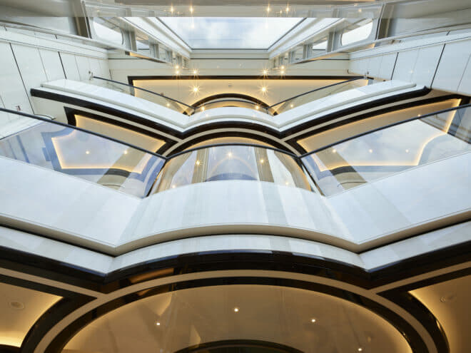 Abeking: Winch handling both exterior and interior was beneficial for such a complex build featuring 5m-high glass panels and a triple-level atrium; Interior Photos: Winch Design