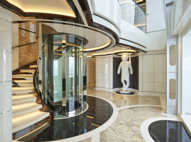 Abeking & Rasmussen: On the main deck, an enormous white rabbit sculpture is a feature of the atrium