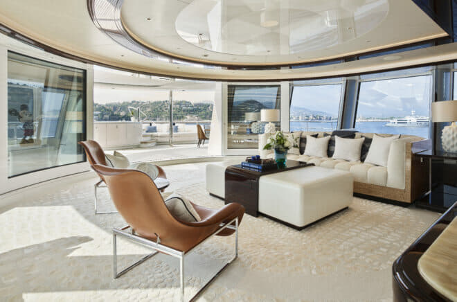 The owner's lounge is aft and, like the master suite, offers stunning views through huge windows; it also leads to a plunge pool on the aft deck
