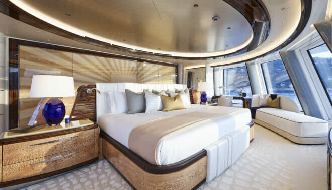 Abeking: Part of 136sqm dedicated to the owners, the master suite is forward on the fifth of six decks and offers sensational views through full-height windows