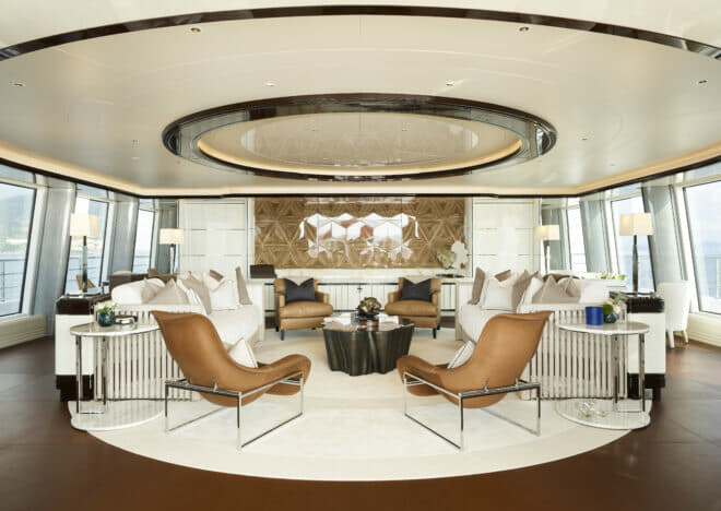 Abeking: On the upper deck, the aft lounge is an elegant social area