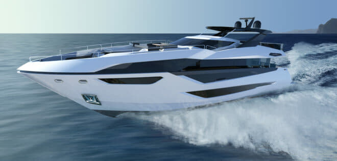 The 100 Yacht features a sleek exterior and a flybridge with walk-around access to the foredeck