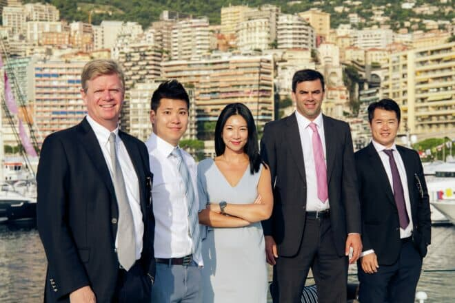 Poullet (left) with his first four Burgess staff, James Tsui, Hwee Tiah, Mark Woodmansey and Joe Yuen, all still with the Asia team