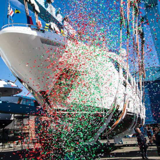The launch ceremony of the sixth hull of Benetti's Delfino 95 series