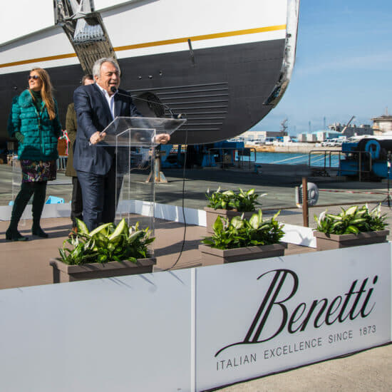 Benetti CEO Franco Fusignani speaks at the FB273 launch ceremony