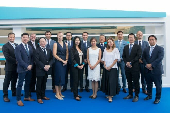 Burgess Managing Partner Tim Wiltshire (far left) and Chairman Asia Jean-Marc Poullet (third left) with Burgess' Asia team