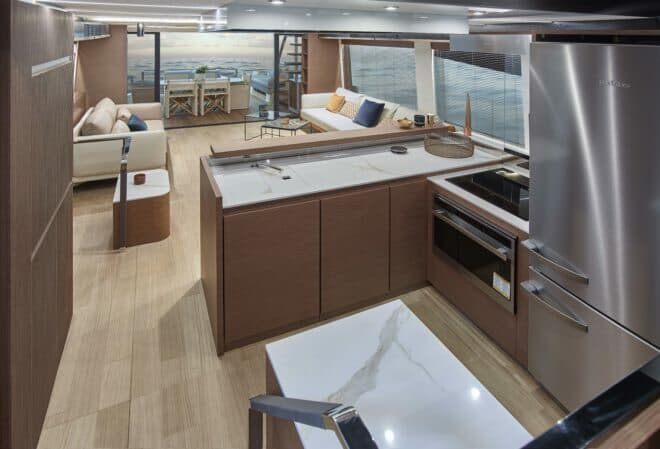 The forward central galley leads up to the helm station