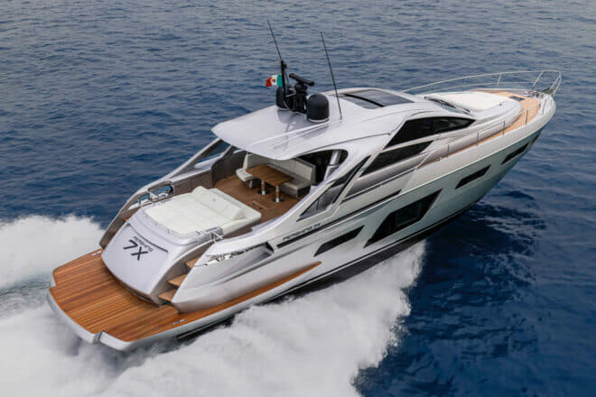 The Pershing 7X hits 50 knots with twin Man V12 diesel engines (1,800mhp each)