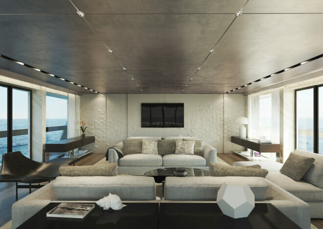 The interior and exterior of the Sanlorenzo 44Alloy are both by the Zuccon International Project studio