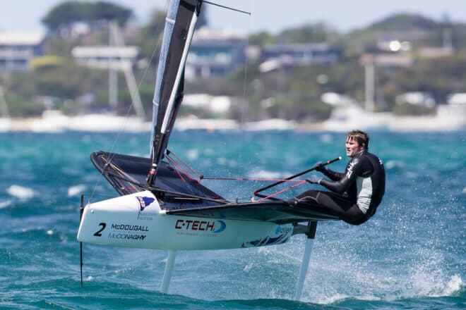 Chris Rashley, pictured at the 2015 Moth Worlds in Australia, is Head Coach of RHKYC Team Agiplast entry for the Youth America's Cup; Photo: Sander van der Borch