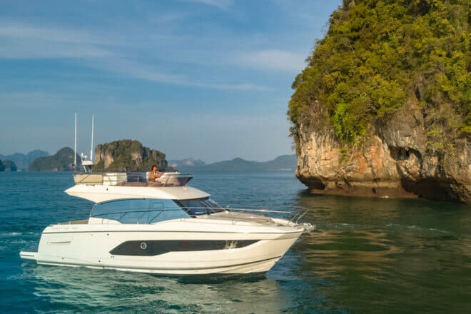 Lying in Phuket, the Prestige 420 is available for sea trials once Covid-19 restrictions are lifted