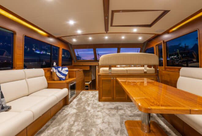 The interior of the Grand Banks 54 is finished in golden blended teak from sustainable sources