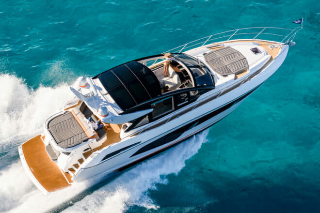 The yacht can reach 34 knots and benefits from Sunseeker's new 'Hydro-Pack'