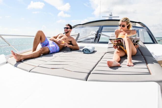 The Sunseeker Predator 60 Evo well designed foredeck features a triple sunpad with adjustable backrests