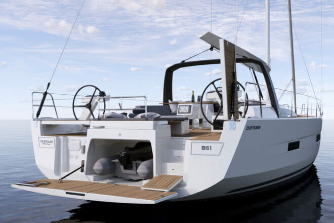The Dufour 61 has a tender garage, drop-down swim platform and two steering stations
