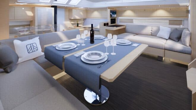 Two of the three interior layouts on the Dufour 61 feature a forward galley (to left)
