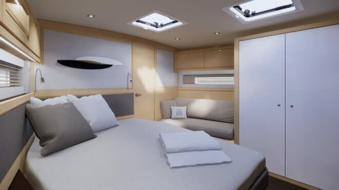 Each of the three interior layouts on the Dufour 61 includes a full-beam owner's suite forward