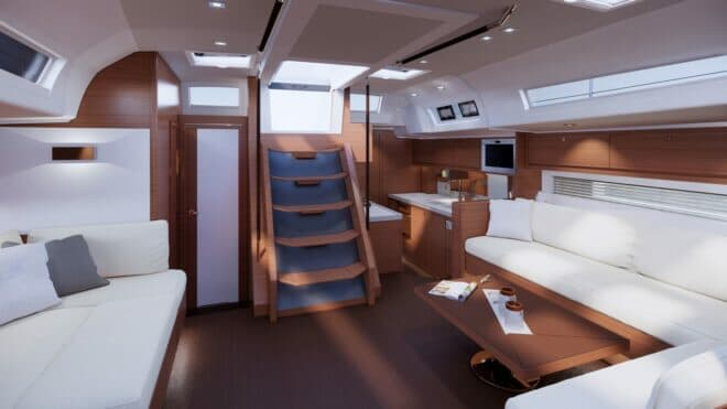 The third layout on the Dufour 61 features the galley aft, with double and single cabins aft
