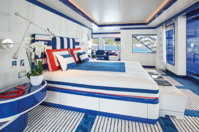 Extensive master suite faces aft on the bridge deck, marking a changed layout from the owner's prior Madsummers