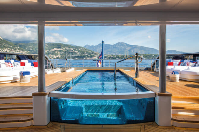 An impressive 9m pool and Jacuzzi are on the main deck aft