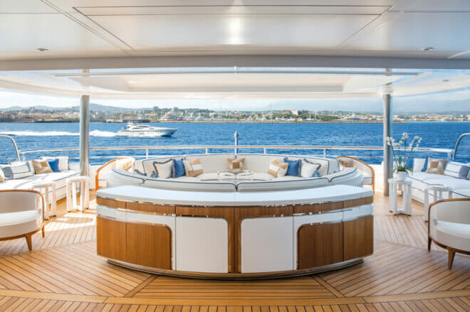 Views of some stunning social areas on this superb yacht