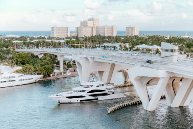 The Majesty 140 in Fort Lauderdale before the Gulf Craft's US show debut