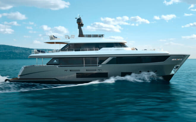The Custom Line Navetta 30 is just 93ft 3in, with a waterline length of just 78ft 3in