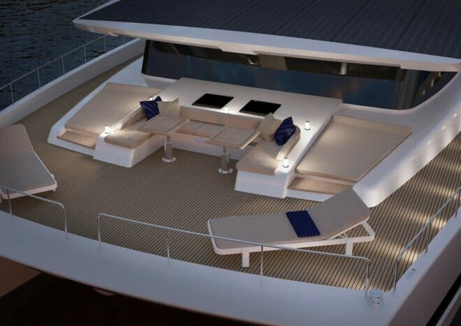 The foredeck features plenty of lounging space and ambient lighting