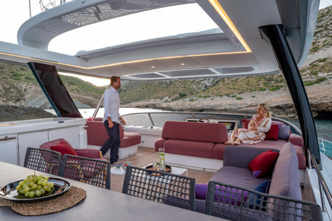 The Tribu version of the flybridge features the Italian brand's outdoor furniture