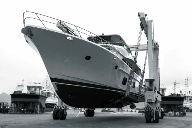 The CLB88 at parent company Cheoy Lee's shipyard in Doumen, Zhuhai, in Guangdong province